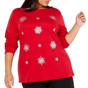 Karen Scott Embellished Snowflake Long Sleeve Top